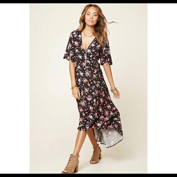 e5f6658e969 Forever21 floral wrap dress. High/low, midi.